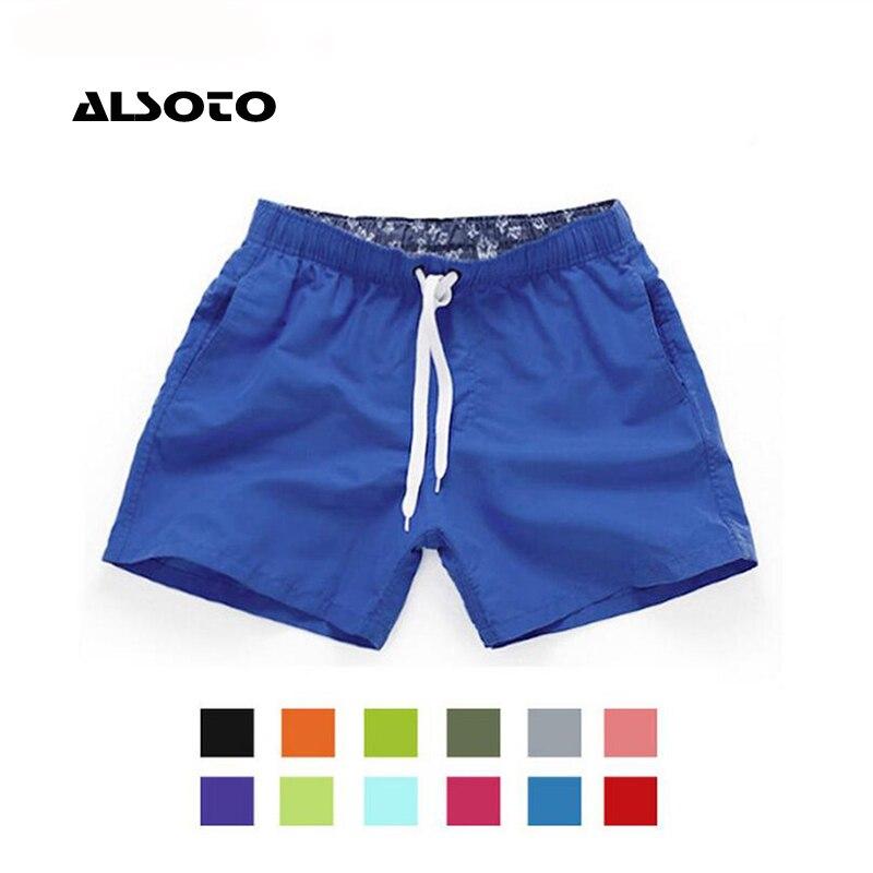 Pantalones cortos de natación de secado rápido bolsillo ALSOTO para hombre traje de baño bañador de verano ropa de playa calzoncillos de Surf