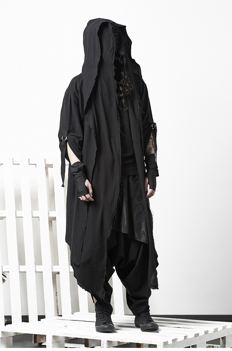 Punk Mens Coats Hooded Gothic Cardigan Slim Super Long Trench Outwear