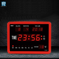 Digital Clock Desk Table Led Alarm Clocks Temperature Electronic English Mute Timer Week Month Year Backlight Display Date