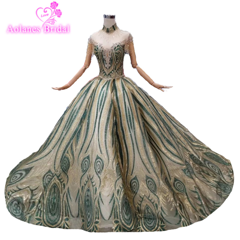 Real Pictures Sleeveless Emerald Green Lace Gold Prom Dress Glitters Prom Gown 2019 New Design Fashion Evening Party Gown Arabic