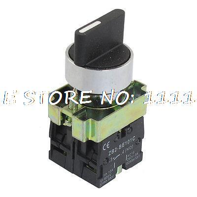 XB2-BD33 AC 660V 10A On/Off/On Self Lock 3 Postion Rotary Selector Switch 22mm ZB2-BE101C 660v ui 10a ith 8 terminals rotary cam universal changeover combination switch