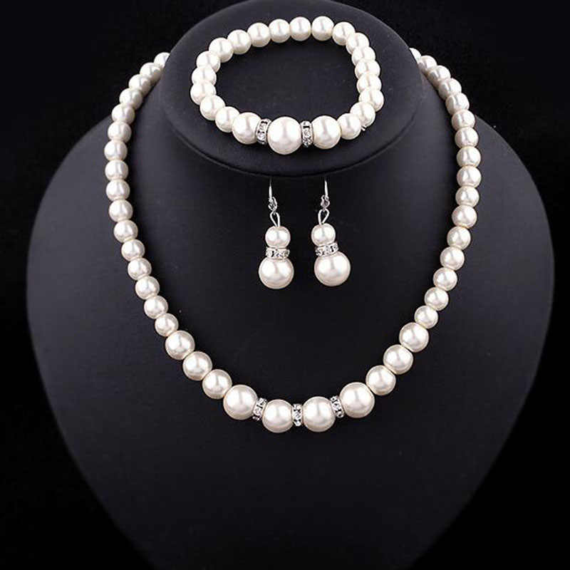 Europe Brand Simulated-Pearl Necklace Bracelet Earrings Women Jewelry Sets Inlay CZ Bride Set Women Wholesale Jewelry