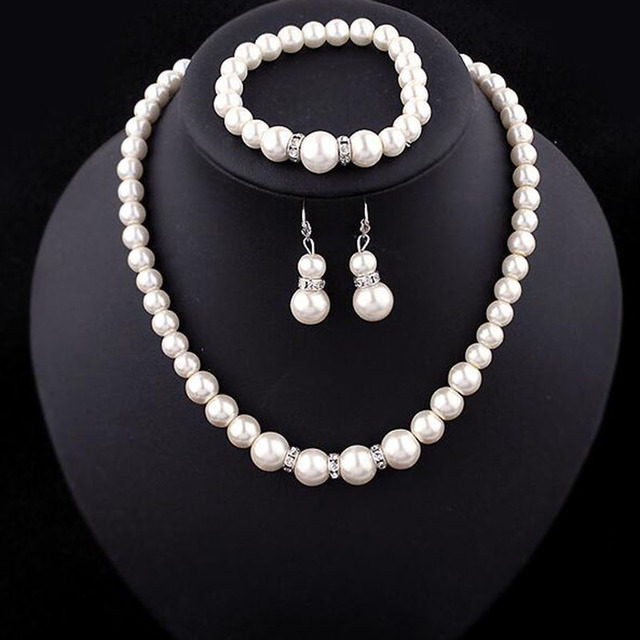 Europe Brand Simulated Pearl Necklace Bracelet Earrings Women Jewelry Sets Inlay Cz Bride Set