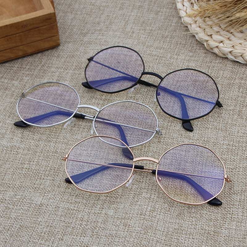 Korean Multilateral Round Glasses Computer Lenses Metal Frame Eyeglasses Anti Blue Ray Oculos De Grau Spectacles Eyewear Frames