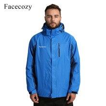 Facecozy Men Winter Hiking Warm Jacket 2 Pieces Fleeced Outd