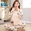 Brand Spring Autumn Long Sleeved Cotton Women's Pajamas Set Cartoon Sleepwear Girls Pyjamas Mujer Lady Casual Home Clothing 3XL