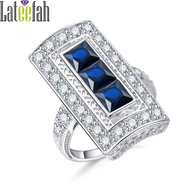 lateefah vintage blue stone silver color ring 3 stones eternity band wedding ring retro cubic zirconia - 3 Band Wedding Ring
