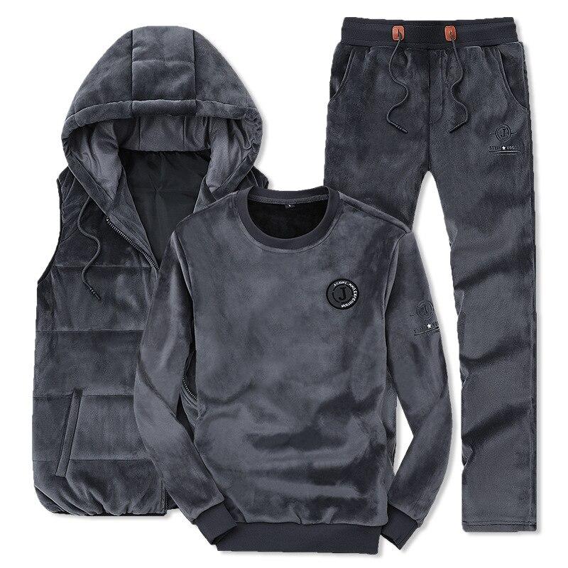 AmberHeard 2019 Winter Fashion Men Sporting Suit Hoodie Vest+Pants +Sweatshirt Gold Velvet 3 Piece Set Tracksuit For Men Clothes