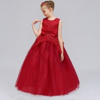 Retail Appliques Elegant Princess Party Long Gown Dress Beauty Girls Trendy Wedding Dress With Bow LP