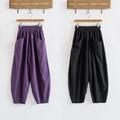 Cotton pants Haren nine radish pants casual summer art loose Elastic Waist Wide Leg Pants