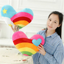 Cute Heart Plush Toy Rainbow Sweet Love Pillow Soft Cushion Birthday Girlfriend Wedding Gift