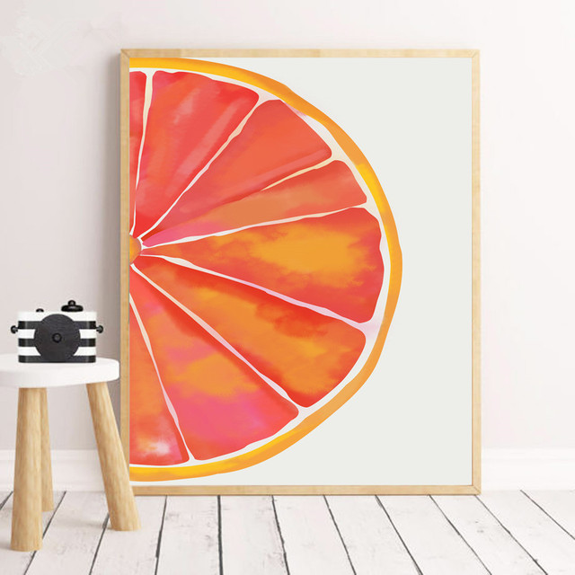 Watercolor Orange Wall Art Canvas Painting  1