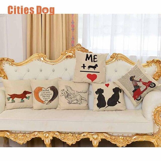 Cuscino cuscino Animale cane stampa Del Modello Federa almofada Bassotto cuscini