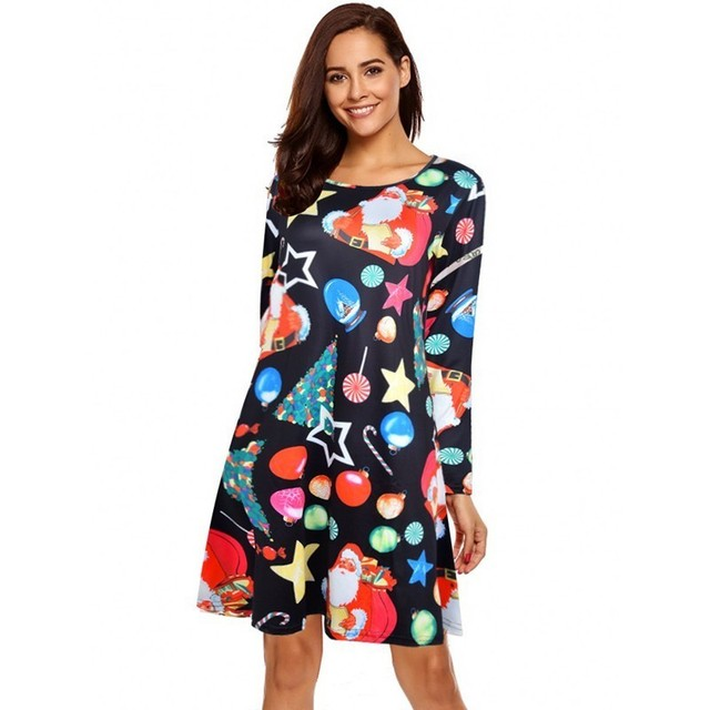 Christmas Dress Women Winter Elegant 2018 Fashion Plus Size Women Dresses Casual Print Mini Dress Large Size Clothing Vestidos