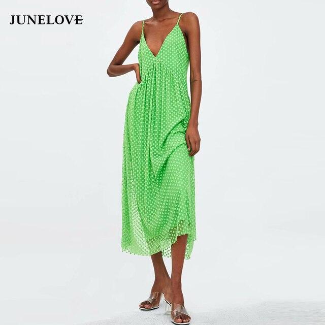 d007e8c27af66 US $15.69 45% OFF|Aliexpress.com : Buy JuneLove Women Summer Sexy Mesh Long  Boho Dress Vintage Polka Dot Female Spaghetti Strap Dress Casual Lady ...