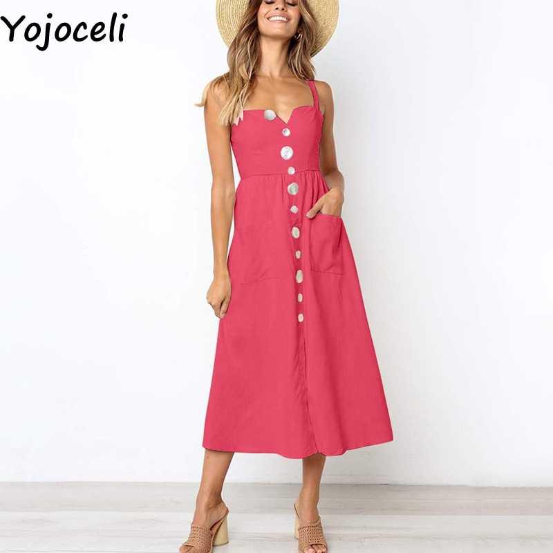 6252dfec22a Yojoceli Sexy button pockets strap sundress women Summer elegant beach boho  dress Female casual daily long