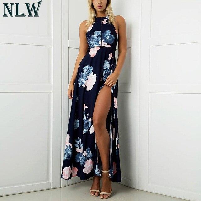 c6904bca2721 NLW Navy Blue Summer Beach Maxi Dress Boho Floral Print Halter Dress Women  Girl High Split