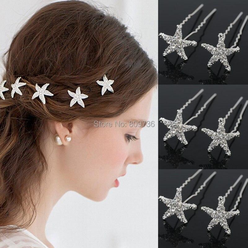 20 Pcs Grampos De Casamento De Cristal Starfish Strass Cabelo Pin Clipes  Mulheres Jewerly Nupcial Da