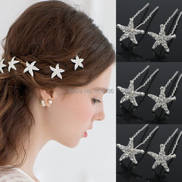 20pcs Wedding Hairpins Crystal Starfish Rhinestone Hair Pin Clips Women Jewerly Bridal Bridesmaid Accessories