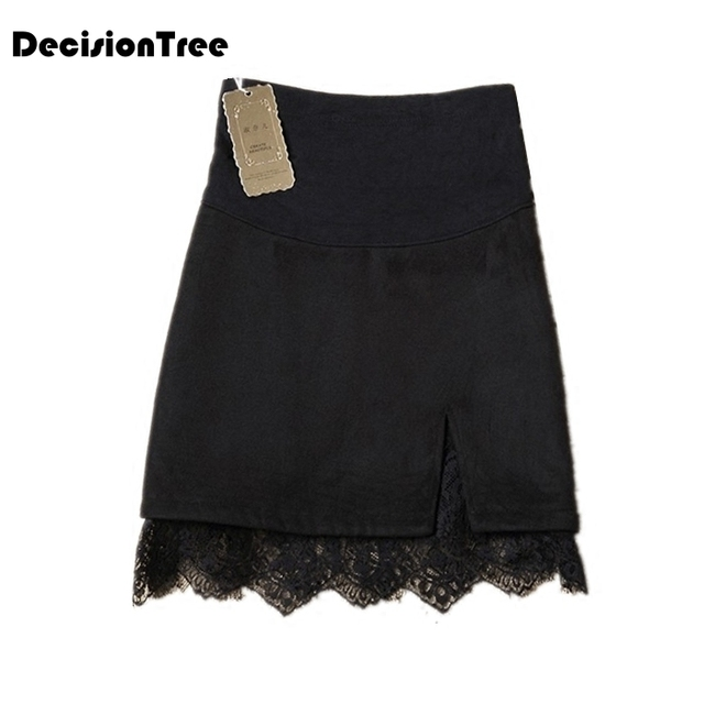 2019 new fashion hot lace maternity belly skirts cute lace detail stretch a line mini skirts bottom for pregnant women