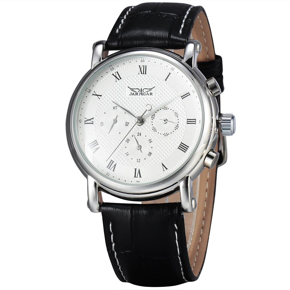 New JARAGAR Fashion Automatic Mechanical Men Dress Watches 24 Hour Week Date Solid Dial Leather Band Simple Wristwatch Gift