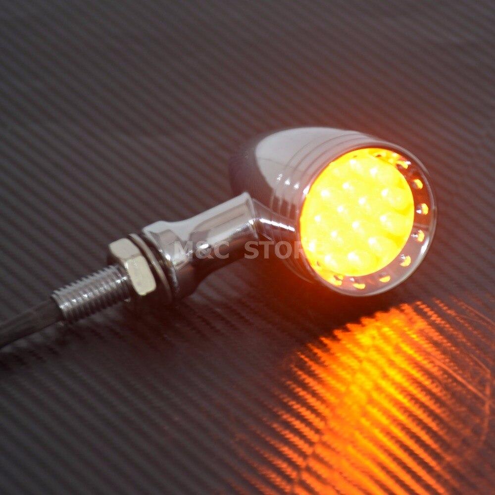 Image 4 - Motorcycle LED Turn Signal Bullet Blinker Orange & Red Indicator Lights Gray/Orange/Red Lens 10mm Vintage Chrome For Harley    -