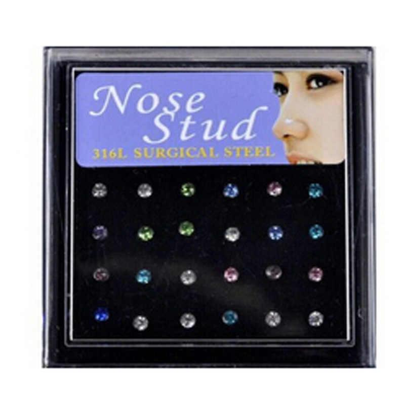 24 אל חלד יח'\קופסא טבעת האף האף כירורגי פלדת פירסינג הרבעה האף גביש סט תכשיטי גוף אופנה חמה למכירה חבילה הרבה