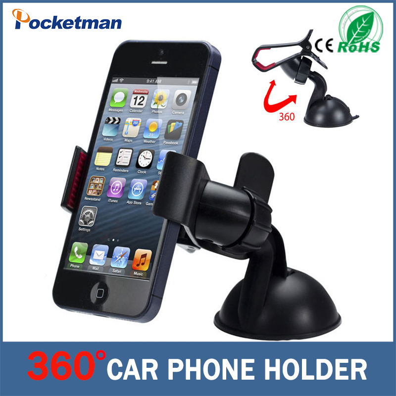 Universal 360 degree Car Windshield Mount Cell Mobile Phone  Bracket Stands Holder for iPhone 5 6 Plus Galaxy Note 2 3 S4 S5 GPS universal 360 degree rotational car mount cell phone holder black