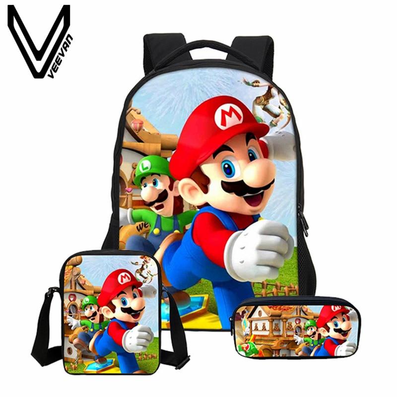 3pcs/Set VEEVANV School Bag Super Mario Printing Backpack Children Combination Bookbag Fashion Boy School Backpack Daily Mochila