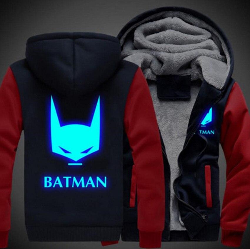 Batman Unisex Cosplay Thicken Hoodie Coat Luminous Zipper Jacket Sweatshirts
