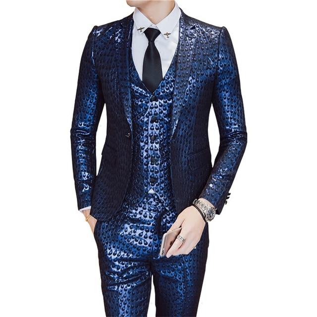Loldeal Terno Masculino Costume Or Bleu Tuxedo Slim Fit Veste + Gilet + Pantalon  Homme Costume b1d62e5c9df