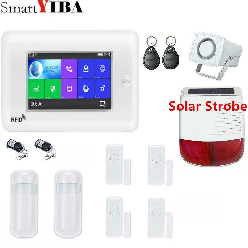 SmartYIBA Wireless 3G WCDMA <font><b>Burglar</b></font> <font><b>Alarm</b></font> KIT <font><b>WIFI</b></font> RFID Home Security <font><b>Alarm</b></font> System With Video IP Camera Smoke Fire Sensor image