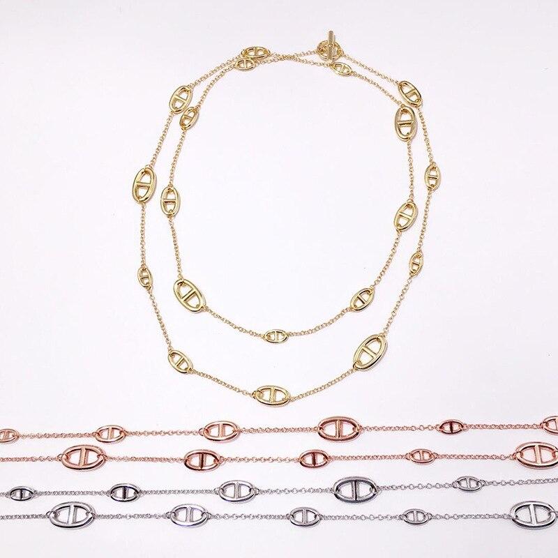 Haute qualité cochon museau forme Long chandail chaîne Double couche collier pour femmes bijoux de mode meilleur cadeau DJN016