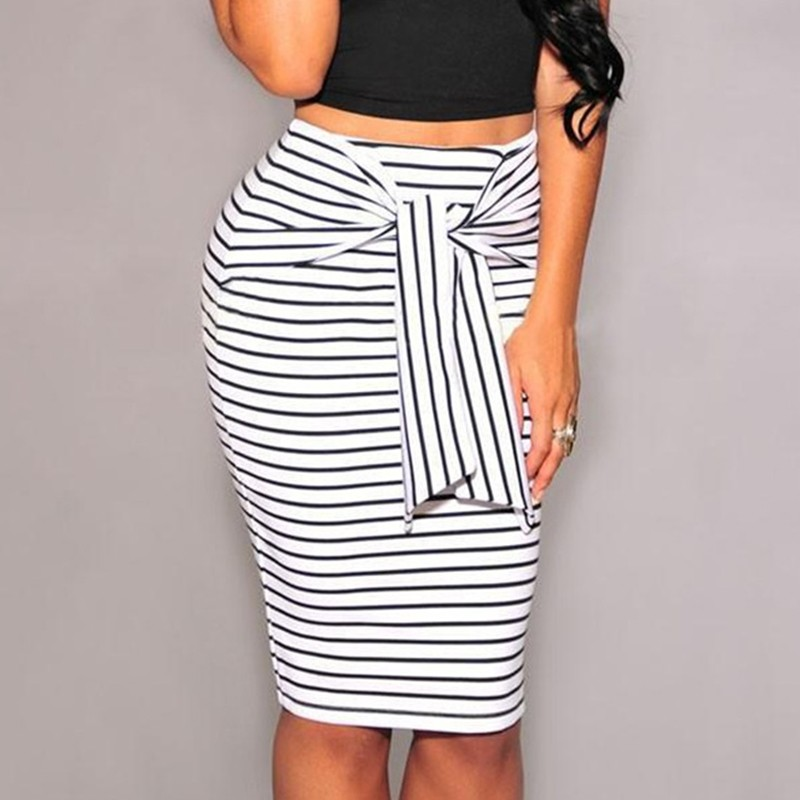 2019 Fashion For Women Bodycon SkirtHigh Waist Stripe Lacing Skirts Womens Big Size White And Black Stripes Long Skirt image