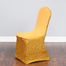 sequin spandex chair cover glitter  100PCS gold and silver color free shipping