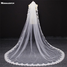 2017 New One Layer Shining Sequins Lace Edge Cathedral Wedding Veil with Comb Single Tier 3 Meters White Ivory Bridal Veil