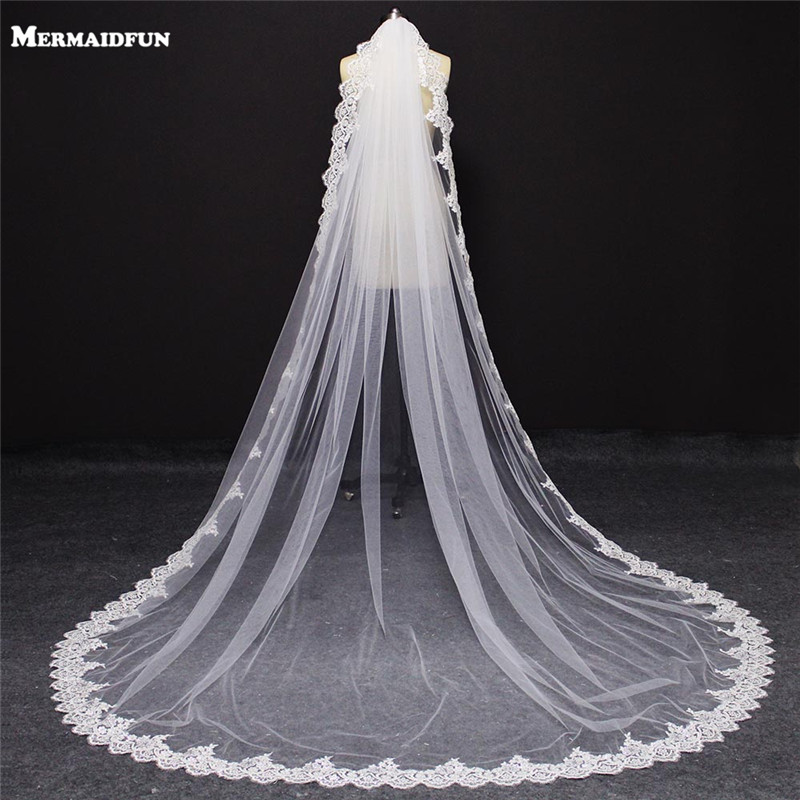New One Layer Shining Sequins Lace Edge Cathedral Wedding Veil With Comb Single Tier 3 Meters White Ivory Bridal Veil