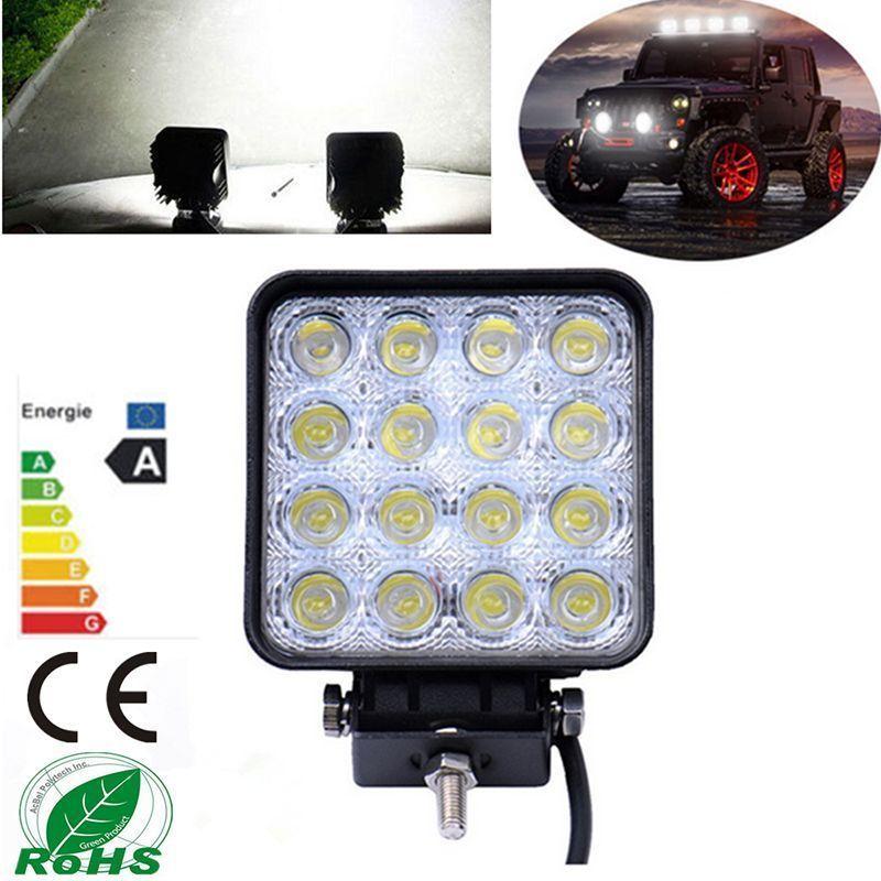 цена на 48W 12V LED Work Light Waterproof Off road Boat Truck Car LED Driving Light Flood Beam Spotlight Car Headlight Square Fog Lamp