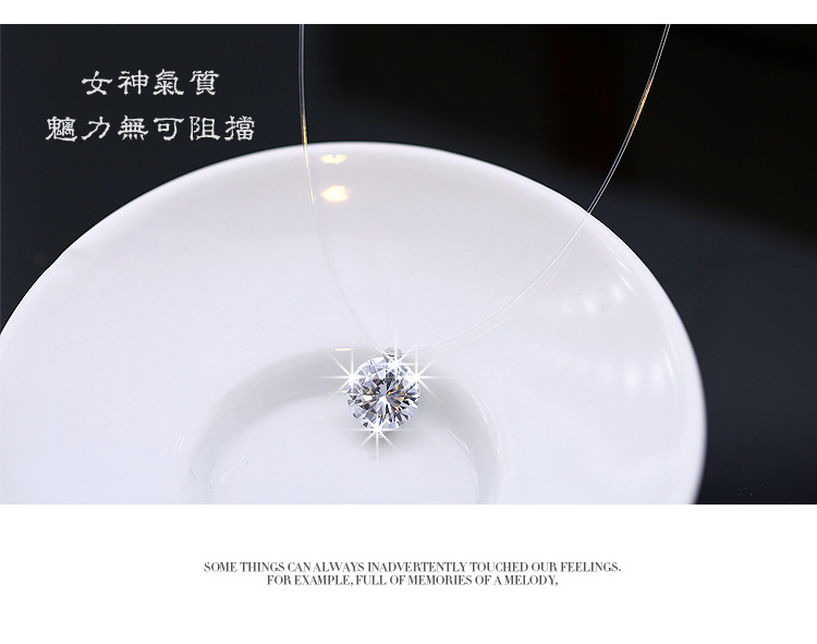 2018 New Stereo Transparent fishing line stealth necklace Crystal From Swarovski Locks Chain Zircon Necklace Valentine Gift