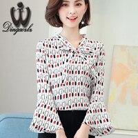 Dingaozlz fashion 2017 autumn new bow printed stitching chiffon OL shirt elegant female long sleeve chiffon blouse women tops