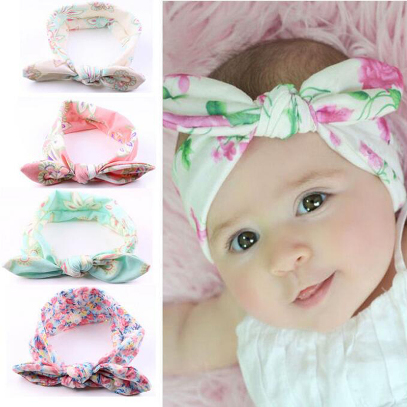 New Flower Knot Elastic Hair Bands Cotton Kids Headband Scrunchy Hair Accessories EASOV W219 metting joura vintage bohemian ethnic tribal flower print stone handmade elastic headband hair band design hair accessories