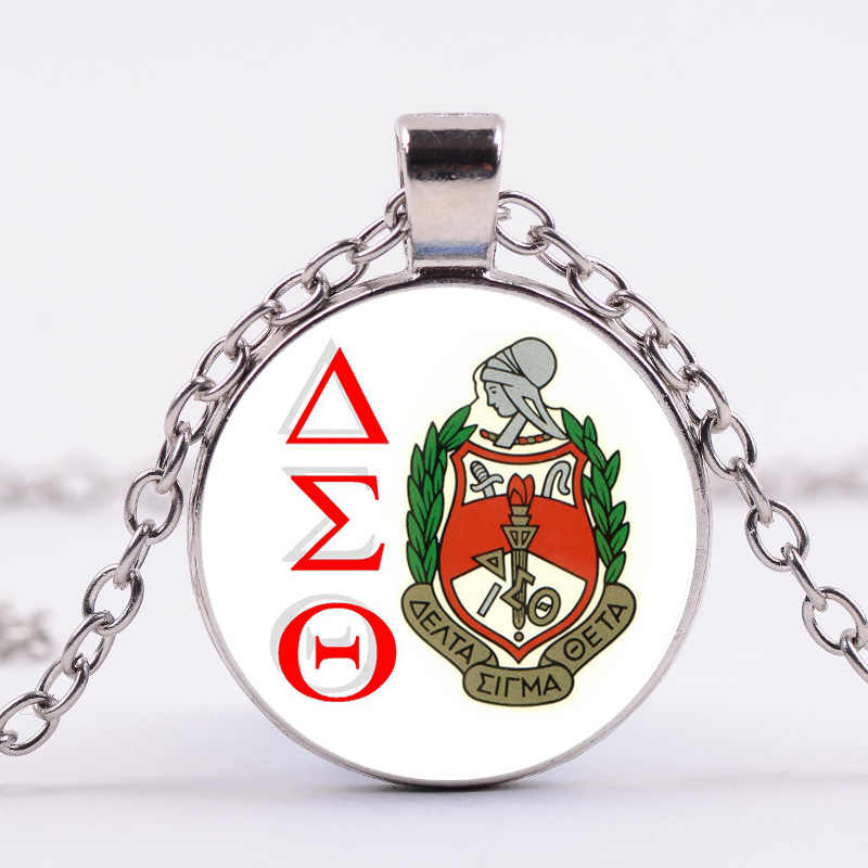 Thời Trang HOT Hy Lạp Hy Lạp Sorority Tình Anh Em Tổ Chức Delta Sigma Theta Symbol Trang Sức Glass Cabochon Pendant Phụ Nữ Necklac