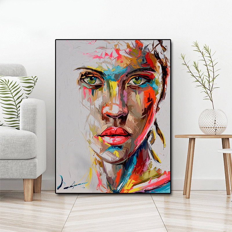 Abstract Knife Portrait Oil Painting Modern Big Size Canvas Wall Art Printed Canvas Posters Prints Dropshipping No Frame