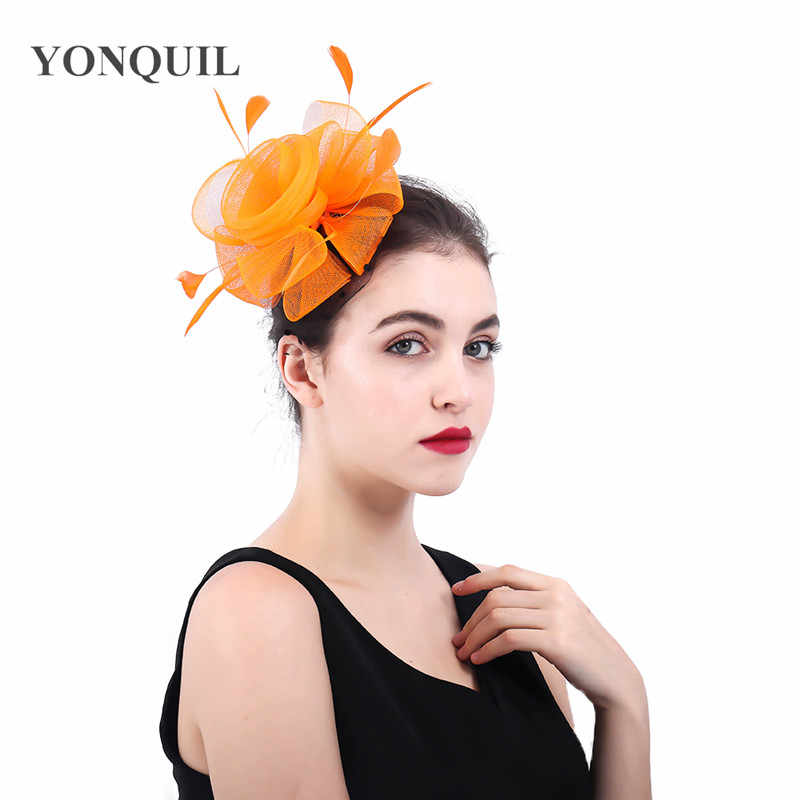 d751e67fd orange crinoline fascinators hat hair accessories for wedding church Party  Kentucky derby ascot races 2018 New arrival SYF396