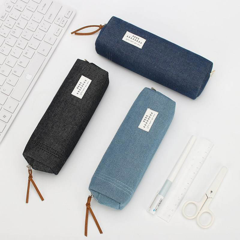Concise Solid Color Pencil Case For Girls Boy Student School Pencil Box Stationery Supplies Canvas Pencil Bag Estojo Escolar