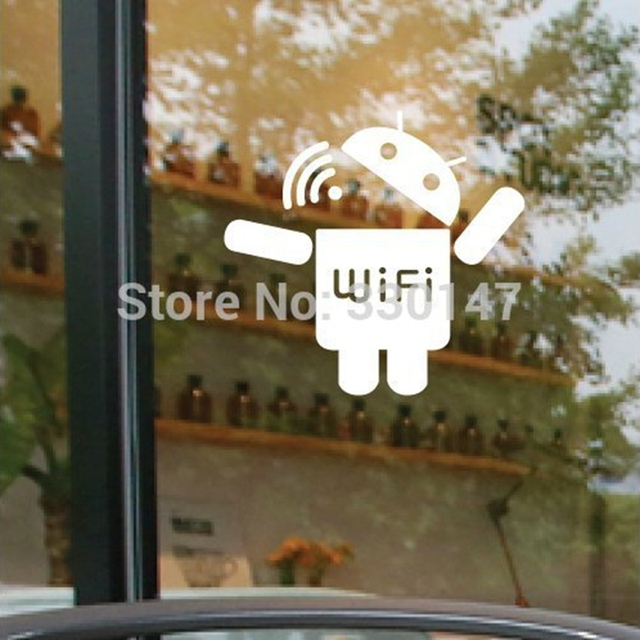 Wifi Wireless Sign Acrylic Mirror Sticker Android Robot Catoptric Wall  Stickers Coffee Shop Store Glass DIY