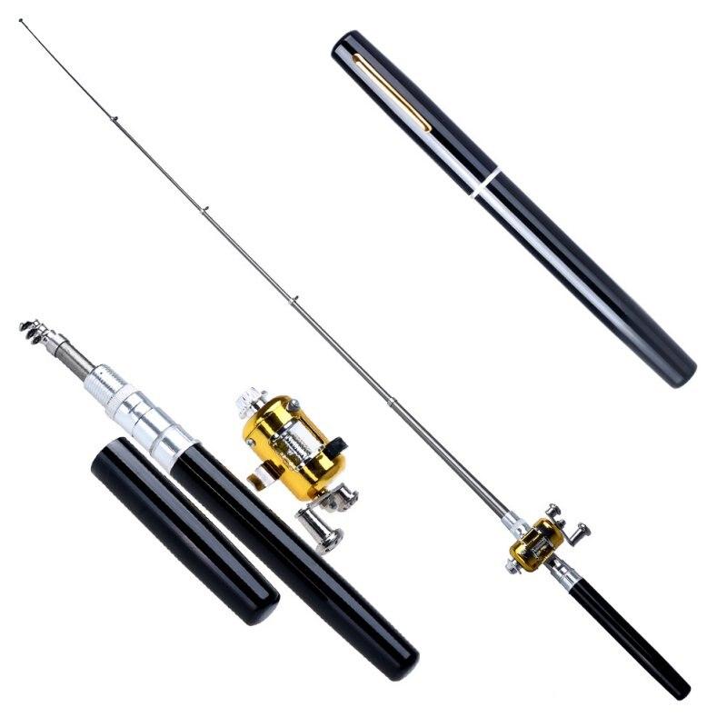 Portátil de bolsillo telescópica Mini caña de pescar forma de la pluma plegado caña de pescar con carrete