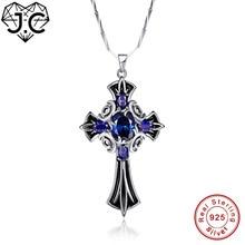 J.C Female Brilliant Pendant Cross Design Oval Sapphire Tanzanite Topaz Solid 100% 925 Sterling Silver Necklace Fine Jewelry цена