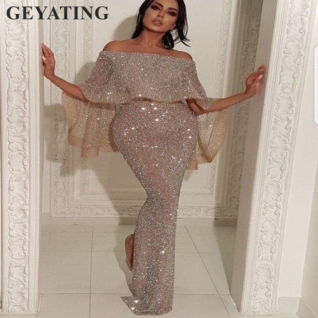 ... Long Evening Dress with Cape Boat Neck Off Shoulder Dubai Prom Dresses  2018 Moroccan Kaftans Gown. Previous  Next 1f89f38d0619