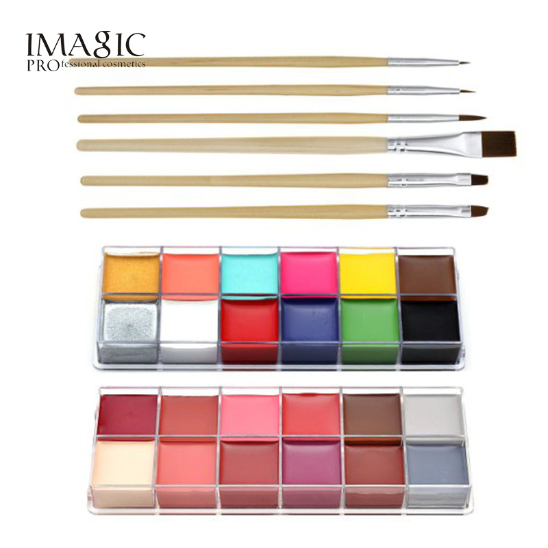IMAGIC Halloween Body Paint Professional Face Oil 12 Color Body Painting Art Party Make Up + 6pcs Paint Brush imagic cosmetics body painting flash tattoo palette halloween painting skin wax professional makeup remover painting tools